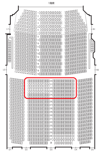 オーチャードホール1階おススメ座席表