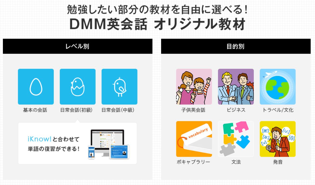 DMMオンライン英会話レッスンのオリジナル教材の紹介