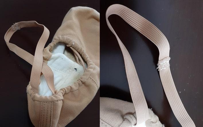 男性向けバレエシューズのゴム紐の縫い付け方