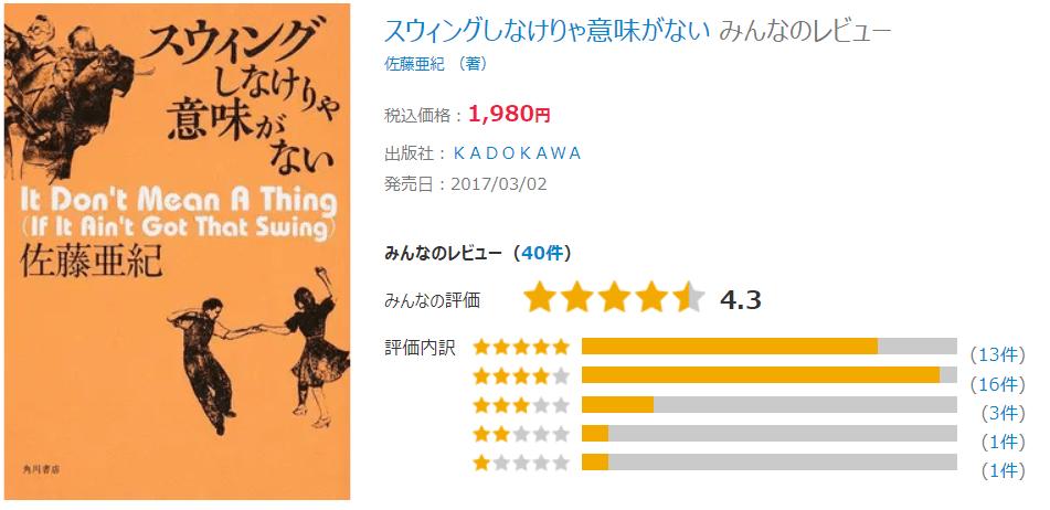 佐藤亜紀著「スウィングしなけりゃ意味がない」の評価、レビュー